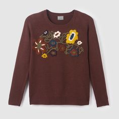 """Pullover """"Flavour"""", aufgesticktes Blumenmuster VERO MODA Sweatshirts, Sweaters, Fashion, Model, Embroidered Flowers, Long Sleeve, Plunging Neckline, Tejido, Tips"""