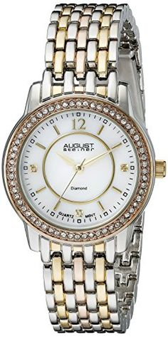 Women's Wrist Watches - August Steiner Womens AS8027TRI Swiss Quartz TwoTone Watch ** Click on the image for additional details.