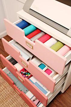 Craft Storage Drawers, Craft Storage Cart, Vinyl Storage, Paper Storage, Craft Organization, Storage Ideas, Storage Cabinets, Art Storage, Nursery Storage