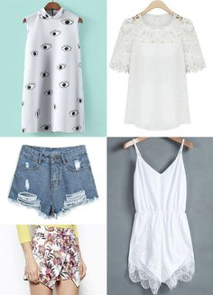 Sheinside Wishlist - I'm craving these 5 items, the eye print dress, the lace detail blouse, ripped denim shorts, floral skort and a very femenine jumpsuit, which one should I get? Check out some coupons at the end of the post!