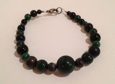 """7.5"""" Bracelet - Black and Dark Green Beads by ShadefallTreasures, $10.00"""