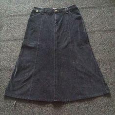 Black Corduroy Skirt Good condition, skirt is black. 98% cotton 2% spandex Eddie Bauer Skirts
