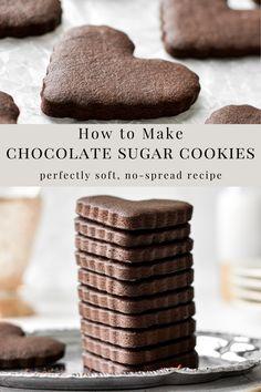 No Spread Sugar Cookie Recipe, Chocolate Sugar Cookie Recipe, Sugar Cookie Royal Icing, Soft Sugar Cookies, Cookie Frosting, Iced Cookies, Sugar Cookies Recipe, Buttercream Frosting, Cupcake Cookies
