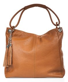 Another great find on #zulily! Cognac Tassel Leather Hobo #zulilyfinds