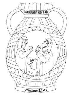 Kleurplaten - Categorie: Jezus. Kruik. Water wijn. download kleurplaten van www.gelovenisleuk.nl