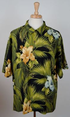 35dc2bea Tommy Bahama Men's 100% Silk Short Sleeve Hawaiian floral camp shirt size  XL #TommyBahama