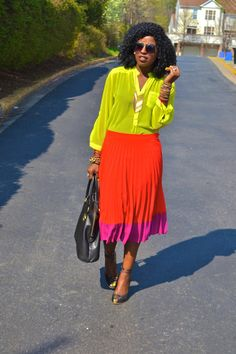 """Light Yellow Neon Blouses, Red Pleated Skirts, Bubble Gum Pleated Skirts 