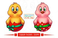 Easter Chicken in Egg Shell by pixaroma on Creative Market