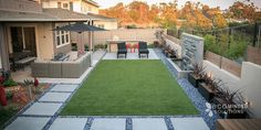 Entertain guests in the artificial turf or hardscape while watching water features in the outdoor lounge surrounded by Mexican beach pebbles. Backyard Arizona, Desert Backyard, Backyard Patio Designs, Modern Backyard, Small Backyard Landscaping, Landscaping Rocks, Hard Landscaping Ideas, Florida Landscaping, Small Backyard Design