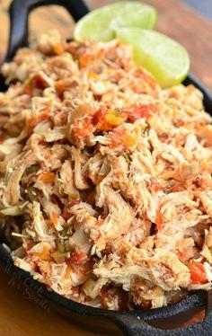 Crock Pot Shredded Salsa Chicken | from willcookforsmiles.com