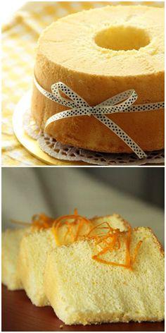 Orange Chiffon Cake - Made with orange, eggs & flour. Orange chiffon cake is soft and tasty with orange flavor. Cake Boss Recipes, Sponge Cake Recipes, Korean Sponge Cake Recipe, Fondant Cakes, Cupcake Cakes, Zebra Cakes, Baby Cakes, Cupcakes, Cheesecakes