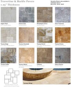 "Travertine and Marble Pavers, Pool Copins 1.25"" Thickness ; Call Now: (973) 955 - 4047 Aegean Pearl, Atlantic Blue, Philadelphia Antico, Silver Travertine Tuscany Beige, Tuscany Chocolate, Tuscany Porchini, Tuscany Riviera, Tuscany Scabos, Tuscany Walnut, Coliseum, Walnut Rustico Versailles Pattern Pavers; 8""x8"", 8""x16"", 16""x16""and 16""x24:"