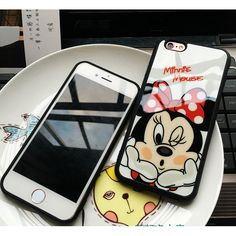 Luxury Fashion Cartoon Mickey Minnie kiss glass Silicone Mirror Cases For iphone 6 6s 6 Plus 5 5s SE Case Fundas Coque