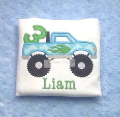 Boys Applique Monster Truck, Applique Boys Birthday Shirt with Number T-Shirt or Bodysuit, Chevron Shirt on Etsy, $19.99