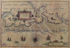 Zeekaart Groningen Oost-Friesland Oudste zeekaart van Groningen en Oost-Friesland - 1584 Lucas Jansz Waghenaer, 1534-1604' Lucas Janszoon Waghenaer werd geboren rond 1533/1534 te Enkhuizen en overleed in zijn geboorteplaats in 1605 of 1606. Hij was een Noord-Nederlands stuurman en werd beroemd als cartograaf. Hij heeft verschillende zeekaarten en zeemansgidsen gemaakt en samengewerkt met zijn beroemde stadsgenoot Jan Huygen van Linschoten. Ook gaf hij in Enkhuizen les in de zeevaartkunde. Early World Maps, Kingdom Of The Netherlands, Hellenistic Period, Classical Antiquity, Old Maps, Gravure, Holland, Nautical, Vintage World Maps