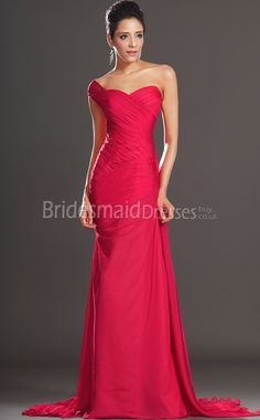 Sweetheart Shaped Strapless Full Length Long Evening Dress-Red ...