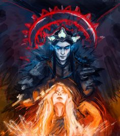 Melkor and Arien. Somewhere I read that he wanted her to be his wife, but she refused and escaped by becoming the Sun.: