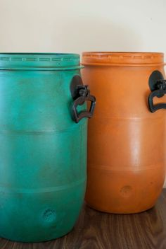A set of plastic barrels went from a bright blue factory color to a lovely combination of Barcelona Orange & Florence Chalk Paint® decorative paint by Annie Sloan | By Stockist Papillon of Cromwell, NZ