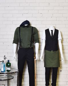 Frankie & Henry have invoked the bartenders of yesteryear with this week's dapper uniforms. Cafe Uniform, Waiter Uniform, Hotel Uniform, Uniform Shop, Staff Uniforms, Work Uniforms, Bartender Uniform, Waitress Outfit, Restaurant Uniforms