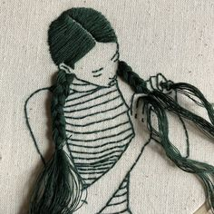 Embroidery art people sewing Ideas for 2020 Diy Embroidery Machine, Hand Embroidery Patterns, Embroidery Art, Embroidery Stitches, Embroidery Designs, Embroidery Fashion, Textiles, Portraits, Sewing