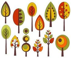 Items similar to Retro Trees Clip Art, Autumn Trees Digital Clip Art, Fall Clip Art - on Etsy Art Floral, Doodle Drawings, Doodle Art, Watercolor Clipart, Fall Clip Art, Retro, Tree Illustration, Tree Crafts, Craft Ideas