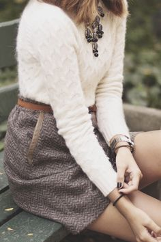 Soft cream sweater + tweed skirt.