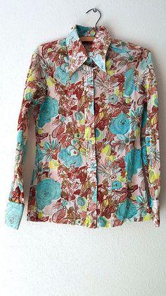 Elles Belles Blouse Size Medium Floral BOHO MOD OP Art Vintage 60s Top Shirt #EllesBelles