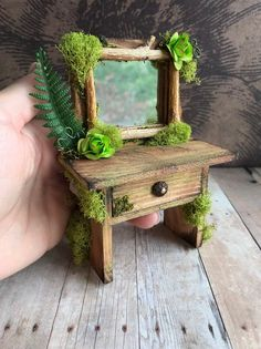 Miniature Fairy vanity, fairy garden desk and stool, miniature dollhouse furniture Gardens are not mer Fairy Garden Furniture, Fairy Garden Houses, Miniature Dollhouse Furniture, Dollhouse Miniatures, Asian Garden, Chinese Garden, Tropical Garden, Fairy Garden Accessories, Colorful Furniture