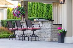 Get inspired by these exterior natural stone creations. Adera Natural Stone Supply is one of Canada's largest natural stone suppleirs. Stone Supplier, Outdoor Furniture Sets, Outdoor Decor, Natural Stones, New Homes, Canada, Exterior, Patio, Wall
