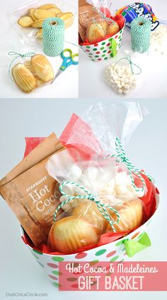 Hot Cocoa and Madeleines Easy Gift Basket Idea