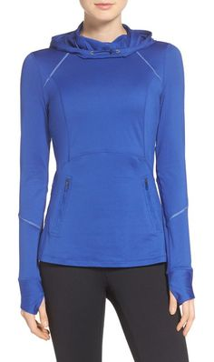run free hooded pullover by Zella. Contoured seams flatter your figure in this soft and stretchy pullover that dries quickly and wicks moisture to keep ...