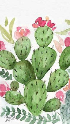 Trendy plants wallpaper iphone drawing ideas - Weddings - Purple, Plum and Eggplant - Cactus Painting, Watercolor Cactus, Cactus Art, Cactus Flower, Cactus Decor, Cactus Plants, Watercolor Paintings, Cacti, Cactus Drawing