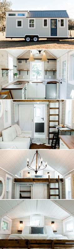 Not crazy about the ladder to loft but I love the mix of wood & white & I really like how open, airy & bright it feels.