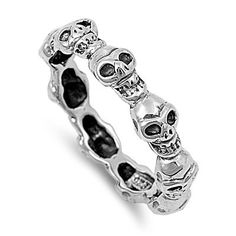 58f71745529 Sterling Silver Multi Skull Design Band Ring Sz 5-13 141893123456 Sterling  Silver Jewelry