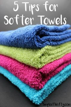 5 Tips for Softer Towels! Very inexpensive frugal living tips for softer towels using products that you probably have in your home. Nothing like a soft towel on your skin. Great cleaning DIY idea!