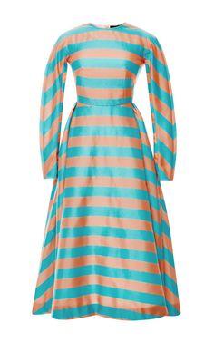 M'O Exclusive: Annie Striped Silk Midi Dress by Emilia Wickstead - Moda Operandi