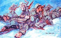 """""""Fronte Russo – Dicembre 1942 – Impegnati in duri combattimenti gli alpini tentano di arginare l'offensiva sovietica"""", Alberto Parducci"""