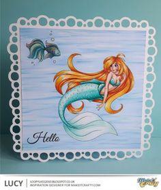 Make It Crafty: Watery Mermaid.     Skin – E000, E00, E21, E11, E04 with R20 Cheeks Hair – Y15, Y17, YR24, YR27, YR04, E08 Mermaid's Tail & Fish – YG11, YG45, YG49, Blender, Wink of Stella Sea – B21, B23, B24, BG45
