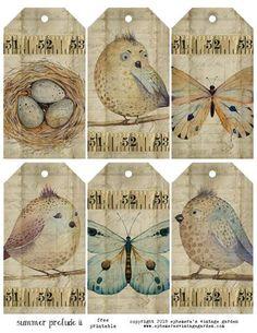 Vintage Tags, Vintage Labels, Vintage Ephemera, Vintage Birds, Etiquette Vintage, Paper Flowers Diy, Paper Tags, Paper Paper, Christmas Gift Tags