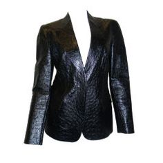 Tom Ford for Gucci Black Ostrich-Leather Jacket Blazer  New