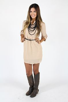 Lime Lush Boutique - Taupe Dress with Mandarin Collar and Belt, $47.99 (http://www.limelush.com/taupe-dress-with-mandarin-collar-and-belt/)
