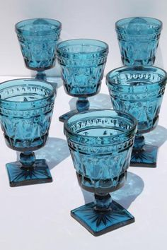 vintage blue glass water glasses or wine goblets, Park Lane Colony / Indiana glass