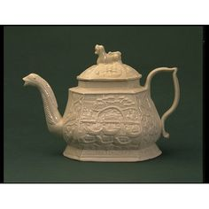 Place of origin: Burslem, England (probably, made)  Date: ca. 1740 (made)  Artist/Maker: Unknown (production)  Materials and Techniques: Salt-glazed and slip-cast white stonewareTeapot | V&A Search the Collections