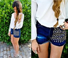 studded denim shorts.