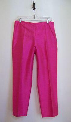 LAUREN Ralph Lauren Petites Fuchsia Silk Crop Pants Sz 10P #LaurenRalphLauren #CropPants
