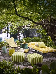 Designer pieces, decorative fabrics and intimate spaces define the inside-out approach to outdoor areas