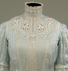 Greek Key Lace Summer Dress, ca. 1908