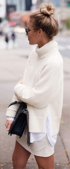 White Oversized Turtleneck Sweater