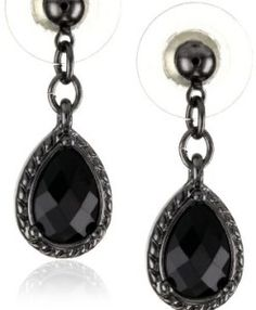 1928 Jewelry Black Victorian Inspired Petite Teardrop Earrings * You can find more details by visiting the image link. Black Jewelry, Black Earrings, Women's Earrings, Fashion Necklace, Fashion Jewelry, Women's Fashion, Fashion Trends, Antique Jewelry, Vintage Jewelry