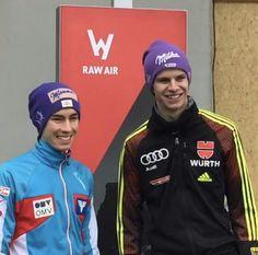 Stefan Kraft and Andreas Wellinger Stefan Kraft, Ski Jumping, Adidas Jacket, Skiing, Audi, Jumpers, Sports, Germany, Sky